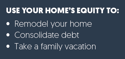 Use Your Home's Equity To Remodel your home, consolidate debt, take a family vacation